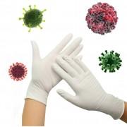 Gumové rukavice antibakteriální nitrilové ochrana proti virům - Bílé