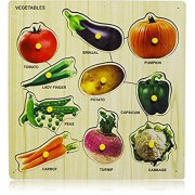 Arfa- Aaina - Vegetables Wooden Educational Colorful Puzzle (30x30 cm) Pack of one Piece Color Assorted