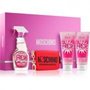 Moschino Fresh Couture Pink set cadou III Apa de Toaleta 100 ml + Lotiune de corp 100 ml + gel de duș și baie 100 ml + portofel
