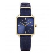CLUSE Horloges La Tetragone Leather Gold Plated Blue Blauw