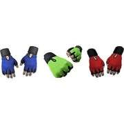 CP Bigbasket Pack of three (3) Netted with Wrist Support Gym Fitness Gloves (Free Size) blue-green-red