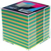 Cub hartie color Aurora 9x9x9cm Suport din plastic
