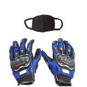 Combo Pack For Pro Biker Gloves Blue-M+ Pollution Mask-Black