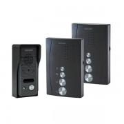 ORNO ELUVIO INT SET, Einfamilienhaus Freisprechanlage mit Intercom Funktion, zur Selbstmontage, in schwarzer Farbe.