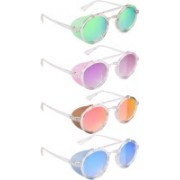 NuVew Round, Shield Sunglasses(Green, Yellow, Violet, Red, Golden, Blue)