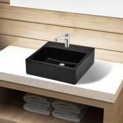 vidaXL Chiuvetă de baie pătrată din ceramică cu gaură pentru robinet, negru