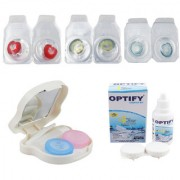 Optify Combo Pack Monthly Color Contact Lens With Travel Kit (Zero Power Red-Green-Blue Pack of 3)