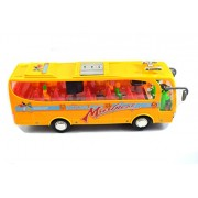 Breno Bus toys for kids with head light and two TV screens for passengers and a lady waiter along with passenger multi color