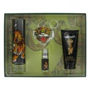 Christian Audigier Ed Hardy Eau De Toilette Spray + Shower Gel + Mini EDT + Keychain Gift Set Men's Fragrance 457831