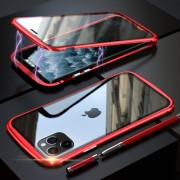 LUPHIE Metal Frame Magnetic Closure Tempered Glass Phone Case for Apple iPhone 11 Pro Max 6.5 inch - Red