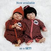 Paradise Galleries Asian Twin Baby Dolls Panda Twins Set - Boy & Girl 17 Reborns in Gentletouch Vinyl