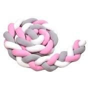 T-tomi rácsvédő kötött párna babaágyba (rózsaszín)