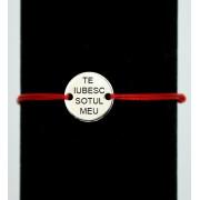 Bratara din snur rosu cu BANUT ARGINT 925 de 12 mm gravat cu textul tau.
