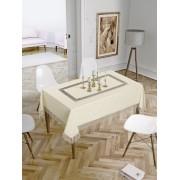 Față de masă Valentini Bianco,160x160 cm, Model cu o broderie Crem