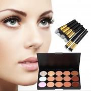 ER 15-colores De Maquillaje Cara Corrector Paleta + 8pcs Cepillo Del Sistema De + 2pcs Esponja Puff.