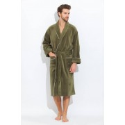 PECHE MONNAIE Стильный мужской халат из махрового материала цвета хаки с белой окантовкой PECHE MONNAIE 1588 Хаки