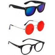 SO SHADES OF STYLE Round, Wayfarer, Retro Square Sunglasses(Blue, Red, Clear)
