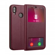 Dual View Windows Cowhide Leather Magnetic Stand Flip Cover for Huawei P20 Lite/Nova 3e - Wine Red