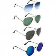 Zyaden Blue UV Protection Unisex Aviator Sunglass