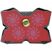 Onloon KOBWA Portátil Cooler Pad De Refrigeración Soporte Ultra Silencioso Gaming Notebook Cooler Para 15.6-17 Pulgadas Portátiles Con 1200 RPM 4 Ventiladores, USB Dual Opción De Puerto Y Multi Ángulo De Inclinación. (Rojo)