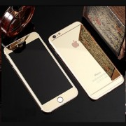 Folie Sticla iPhone 6S iPhone 6 Set 2 Buc Fata si Spate Mirror Auriu Galben Gold Protectie Antisoc Tempered Glass