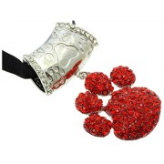 V G S Eternity Fashions Fashion Jewelry ~ Red Crystals Paw Scarf Charm Pendant (Scarf Charm HAF84664RDRED)