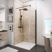 Schulte Home Paroi latérale pour portes de douche battantes 90 cm, anticalcaire, style industriel, profilé noir