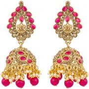 Aadita Ethnic Traditional Bridal Gold Plated Jhumki Jhumka Kundan Pearl Heavy Drop Chandbali Earrings for Women and Girls