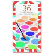 Zestaw farb gwaszowych 36 kolorów, materiały plastyczne DJECO DJ08873