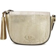 Call It Spring Women Casual Gold Genuine Leather Sling Bag