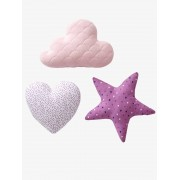 VERTBAUDET Lote de 3 almofadas violeta-claro estampado