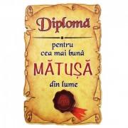 Magnet Diploma pentru Cea mai buna MATUSA din lume, lemn
