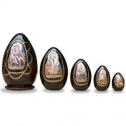 6.5 Set Of 5 Mary Holding Jesus Christ Wooden Nesting Dolls