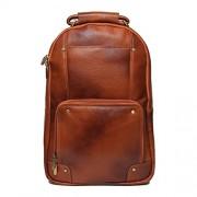 C Comfort 18 inch Pure Tan Leather Backpacks Bag for men and women EL81