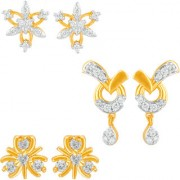 Mahi Gold Plated Delicate Combo of Cubic Zirconia 3 Stud Earrings for girls and women CO1104808G