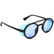 NuVew Round, Shield Sunglasses(Black, Blue)