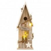 Ornament craciun casuta lemn ren crem luminata led