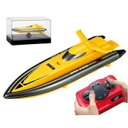 POCO DIVO 2.4Ghz Mini RC Racing Boat Pool Tracer Bathtub Yacht Toy Motor Ship - Yellow