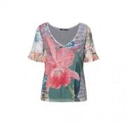 Desigual gebloemd T-shirt grijs/roze