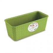 STEFANPLAST Víztárolós műanyag Rattan virágláda 30x13x11cm zöld