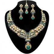 Kriaa by JewelMaze Zinc Alloy Gold Plated Blue Austrian Stone Kundan Necklace Set With Maang tikka-AAA0532