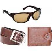 Briota Wrap-around Sunglass, Card Holder, Belt Combo(Brown)