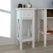 vidaXL Príručný stolík so zásuvkou, biely