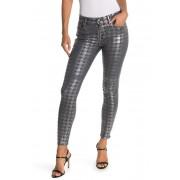 FIDELITY DENIM Sola Metallic Houndstooth Skinny Jeans SILVER FOX