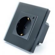 Priza inteligenta Vhub, rama din sticla, Wireless 2.4GHz, 16A, cu protectie, compatibila Google Alexa, negru