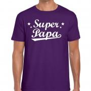 Shoppartners Super papa cadeau t-shirt paars voor heren