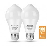 Boxlood 12W Motion Sensor Light Bulb, Indoor/Outdoor Movement Activated Security LED Bulb Lamp, 1000LM(100W Halogen Equivalent), A19, E26, 3000K Warm White for Front Door,Basement,Stairs,Porch-2PACK