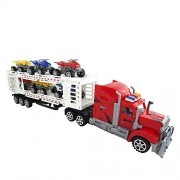 Police Toy Truck With Trailer Towing 4 Cars Friction Powered Toy Trucks