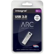 Integral USB 3.0 Flash Drive Metal Arc 32 GB Silver