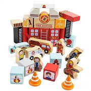 Toddler Toy Playset, Wooden Wonders Elm Street Fire Station Kids Toys Playsets